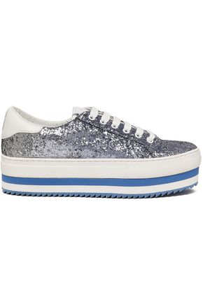 MARC JACOBS Glittered leather platform sneakers