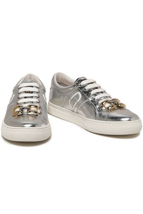 MARC JACOBS Embellished metallic cracked-leather sneakers