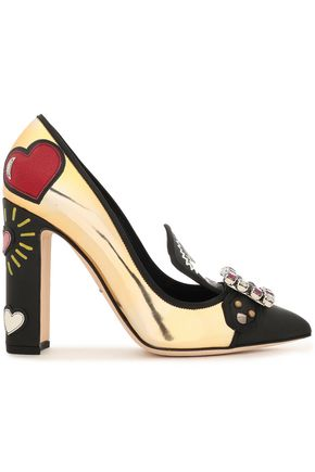 DOLCE & GABBANA Embellished printed mirrored and smooth leather pumps