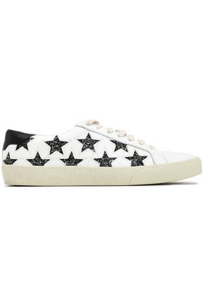 SAINT LAURENT Embellished laser-cut leather sneakers