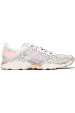 RENE' CAOVILLA Paneled embellished suede, leather and lace sneakers
