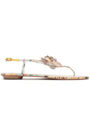 RENE' CAOVILLA Embellished jacquard sandals