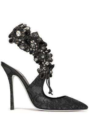 RENE' CAOVILLA Leather-trimmed embellished lace pumps