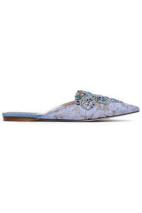 RENE' CAOVILLA Embellished appliquéd corded lace slippers