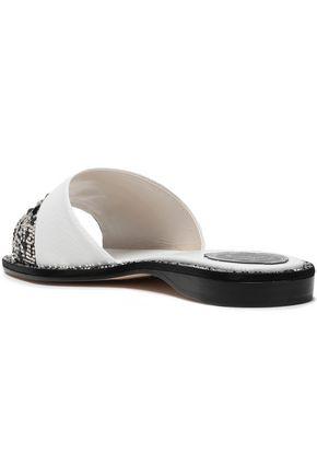 RENE' CAOVILLA Embellished textured-leather slides