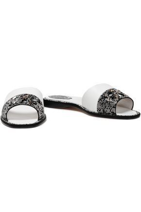 RENE' CAOVILLA Embellished textured-leather slides