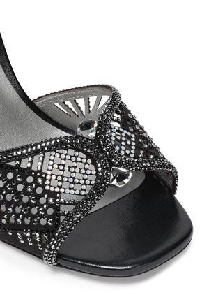 RENE' CAOVILLA Crystal-embellished laser-cut suede sandals