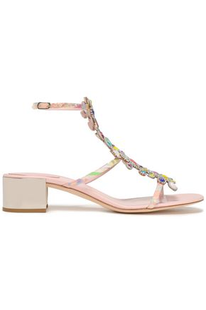 RENE' CAOVILLA Embellished printed woven sandals