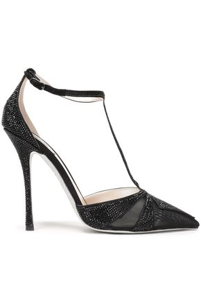 RENE' CAOVILLA Crystal-embellished satin and mesh pumps