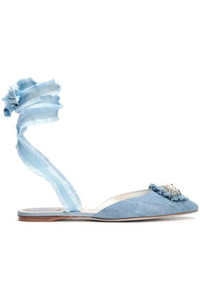 RENE' CAOVILLA Embellished denim point-toe flats