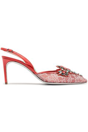 RENE' CAOVILLA Embellished leather and lace slingback pumps