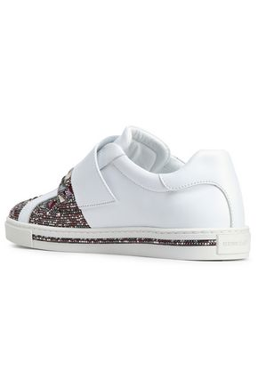 RENE' CAOVILLA Embellished satin-paneled leather sneakers