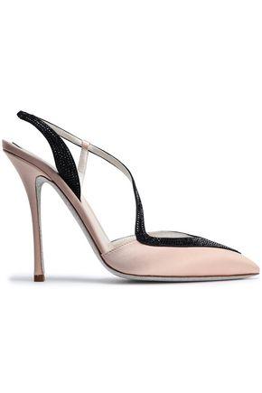 RENE' CAOVILLA Crystal-embellished suede-trimmed satin pumps