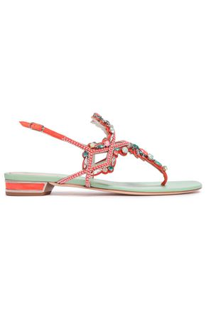 RENE' CAOVILLA Embellished suede and satin sandals
