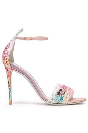 RENE' CAOVILLA Fringed crystal-embellished floral-jacquard sandals