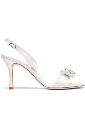 RENE' CAOVILLA Crystal and bow-embellished satin slingback sandals