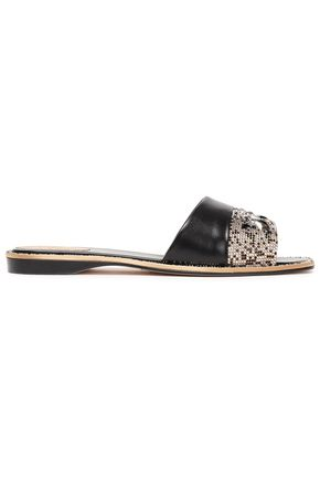 RENE' CAOVILLA Embellished satin and leather slides