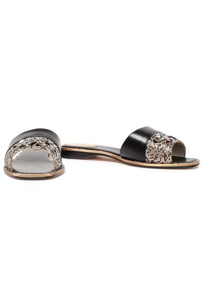 RENE' CAOVILLA Embellished satin and leather slides