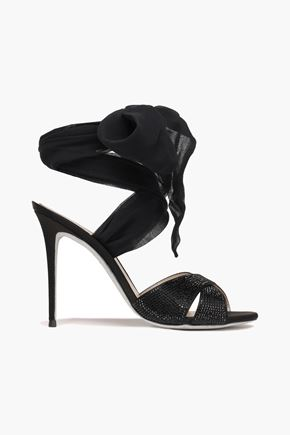 RENE' CAOVILLA Lace-up crystal-embellished satin and georgette sandals