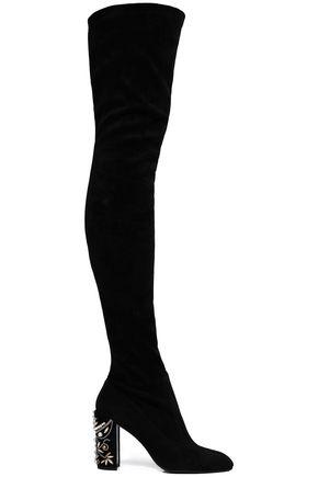RENE' CAOVILLA 装飾付き ストレッチスエード サイハイブーツ