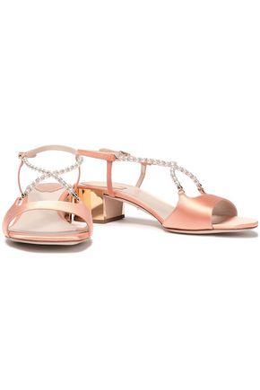 RENE' CAOVILLA Embellished satin slingback sandals