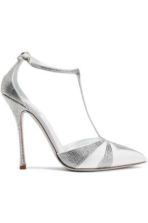 RENE' CAOVILLA Suede-trimmed crystal-embellished satin pumps