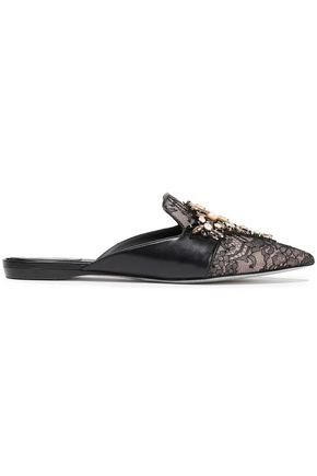 RENE' CAOVILLA Embellished lace and leather slippers