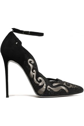 RENE' CAOVILLA Crystal-embellished laser-cut suede and mesh pumps