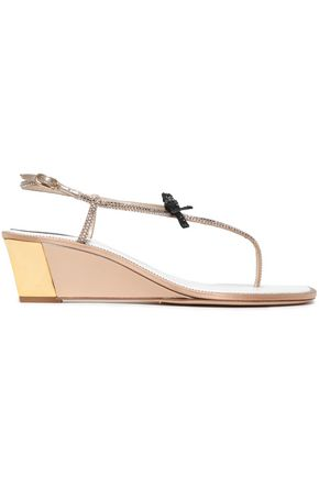 RENE' CAOVILLA Crystal and bow-embellished leather sandals