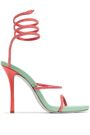 RENE' CAOVILLA Crystal-embellished satin and leather sandals