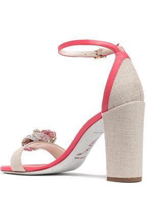 RENE' CAOVILLA Floral-appliquéd canvas and leather sandals