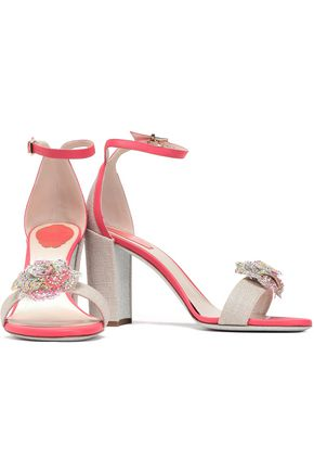 RENE' CAOVILLA Floral-appliquéd canvas and leather sandals