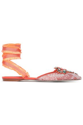 RENE' CAOVILLA Embellished leather and lace point-toe flats