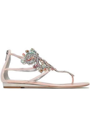 RENE' CAOVILLA Embellished leather sandals