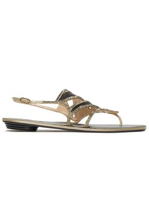 RENE' CAOVILLA Leather-trimmed crystal-embellished satin sandals