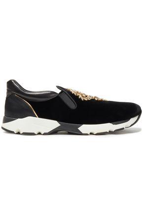 RENE' CAOVILLA Embellished satin, leather and velvet slip-on sneakers