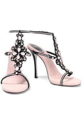 RENE' CAOVILLA Embellished laser-cut suede sandals