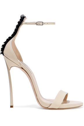 CASADEI Techno Blade ruffled organza-trimmed leather sandals