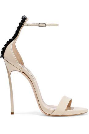 CASADEI | Casadei Techno Blade Ruffled Organza-Trimmed Leather Sandals | Goxip