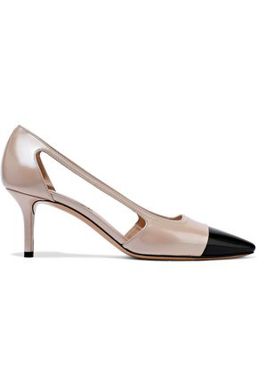 CASADEI Cutout two-tone glossed-leather pumps