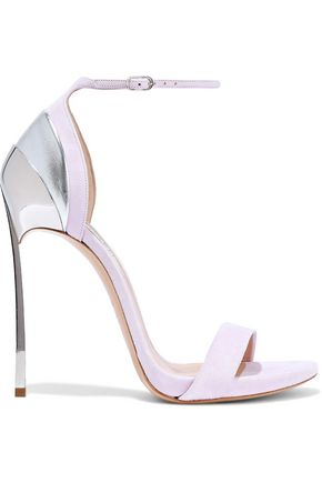 CASADEI Mirrored suede and metallic leather sandals