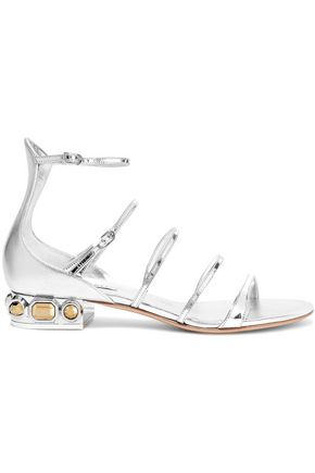 CASADEI Embellished metallic smooth and patent-leather sandals