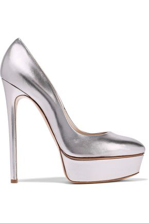 CASADEI Metallic leather platform pumps