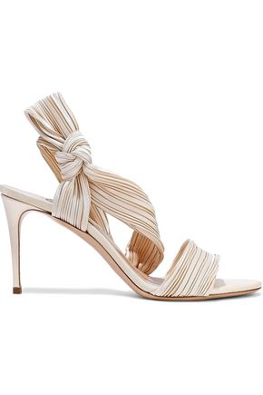 CASADEI Knotted plissé-satin sandals
