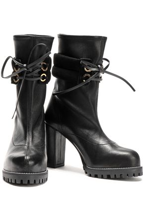 STUART WEITZMAN Suede-trimmed leather ankle boots
