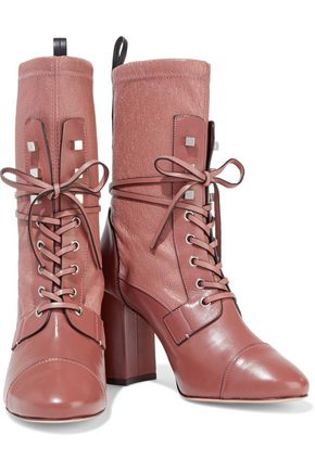 STUART WEITZMAN Lace-up paneled leather boots
