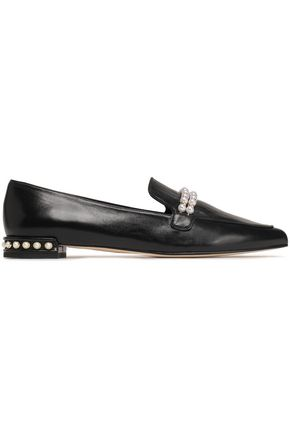 STUART WEITZMAN Embellished leather slippers