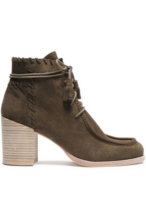 STUART WEITZMAN Whipstitched suede ankle boots
