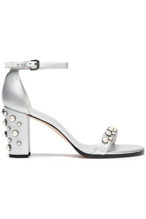 STUART WEITZMAN Faux pearl-embellished metallic leather sandals