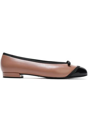STUART WEITZMAN Grosgrain-trimmed two-tone smooth and patent-leather ballet flats